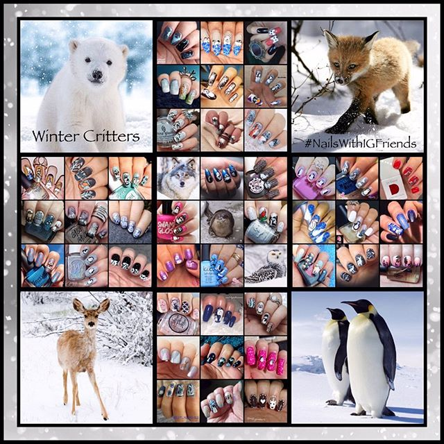 #NailsWithIgFriends - Winter Animals collage
