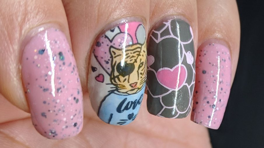Soft pink and grey nail art with handsome tiger suitor and heart pattern.