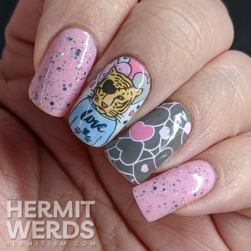 Soft pink and grey nail art with a handsome tiger suitor and heart pattern.