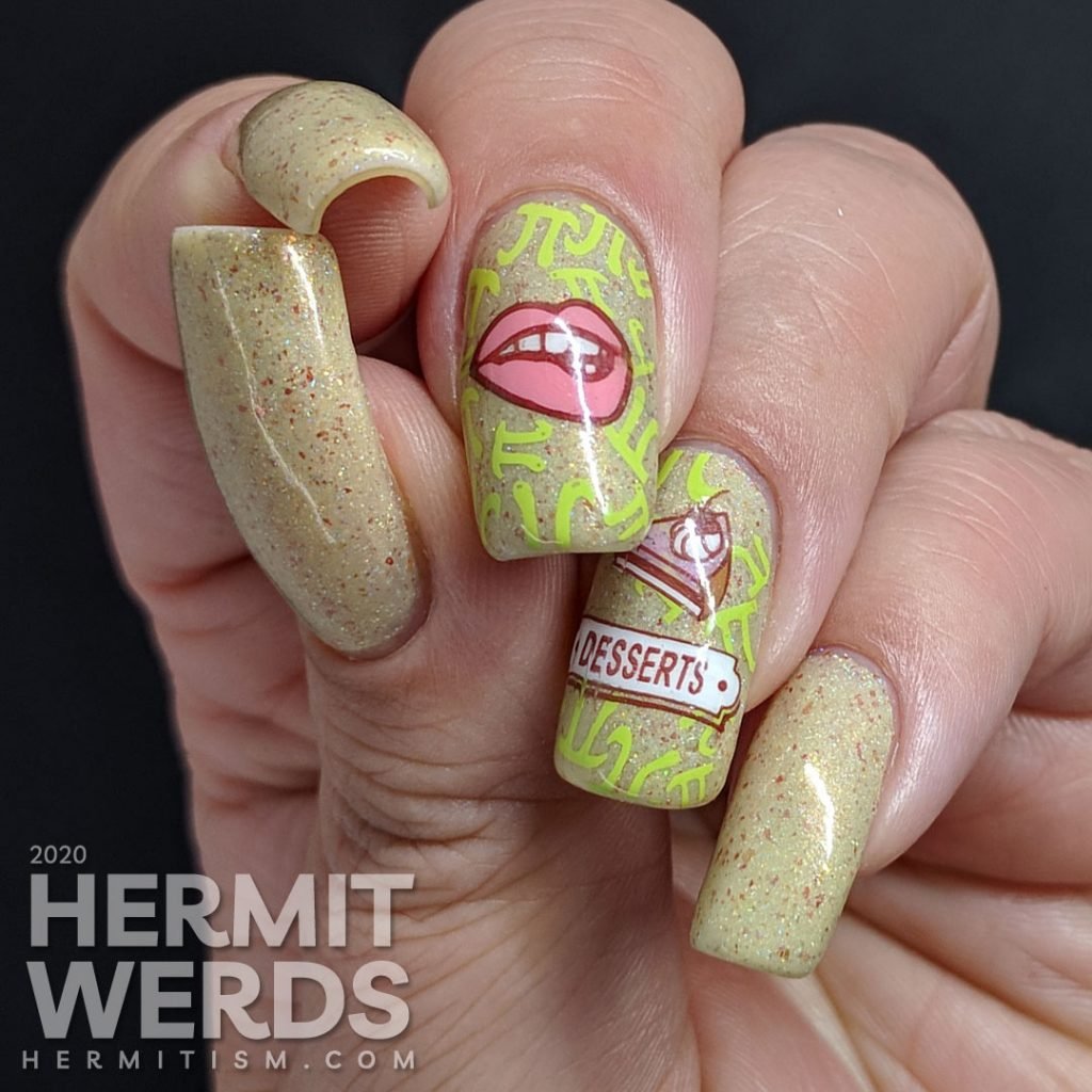 Pi Day nail art with a cream colored background π symbols and pie-related stamping decals.