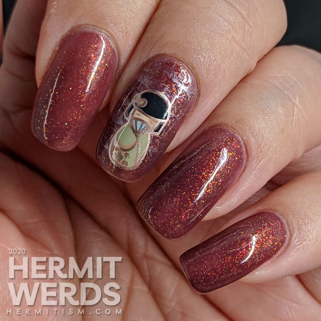 Warm rosy-brown nail art with little chibi Japanese girls in kimonos.