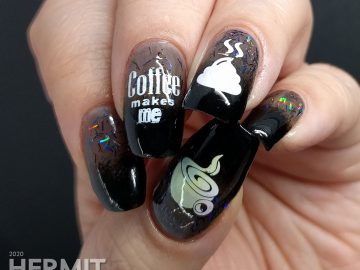 Funny coffee nail stamping decals over black baby boomer french tips with rainbowy bar glitter.