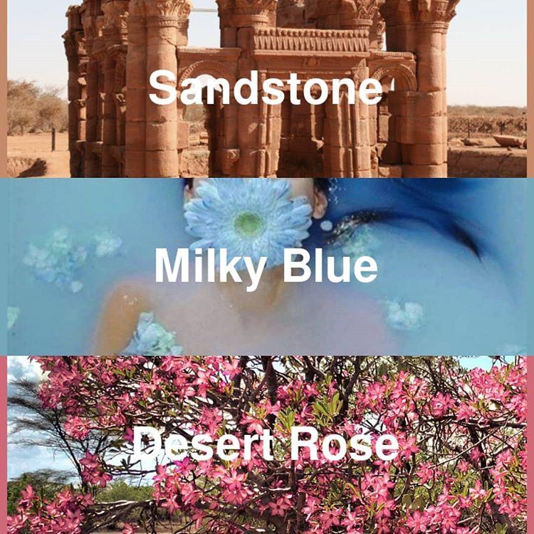 #pantone2020winterchallenge - sandstone, milky blue, desert rose