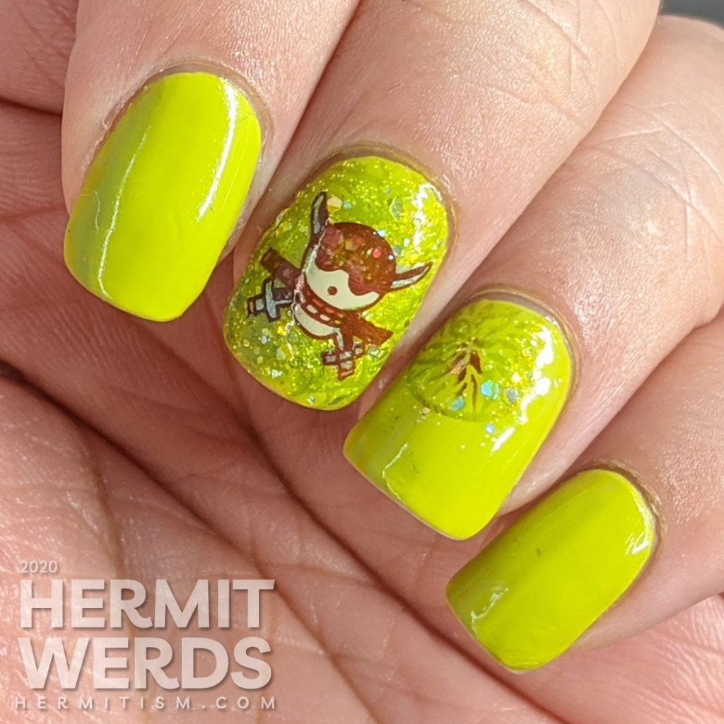 Bright celery green nail art with a skull and crossed swords stamped on top.