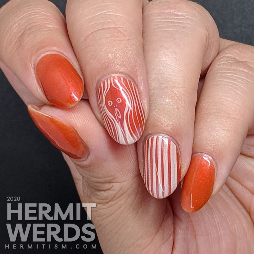 Orange nail art modernist interpretation on The Scream painting by Norwegian Expressionist artist Edvard Munch.