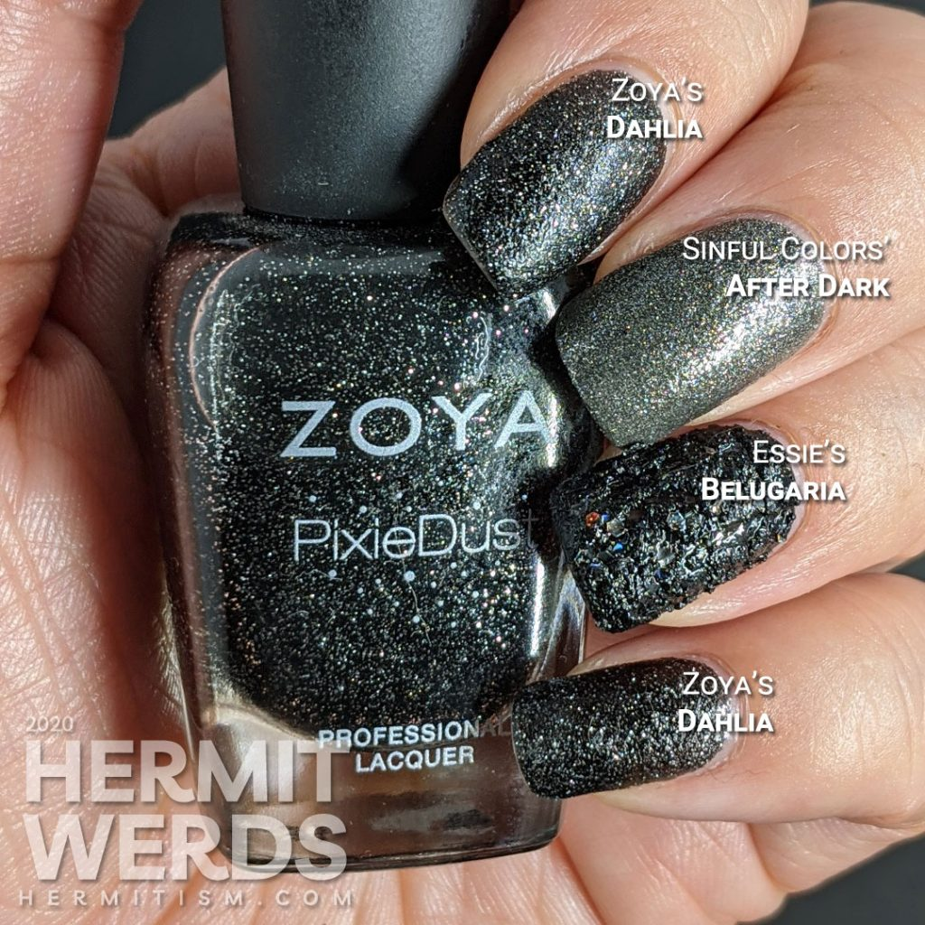 "Black texture polish swatches - Zoya's ""Dahlia"" - Sinful Colors' ""After Dark"" - Essie's ""Belugaria"""