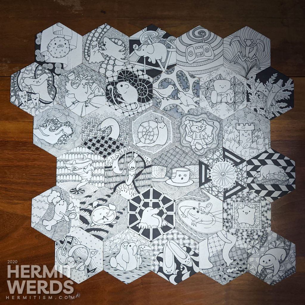 Completed inktober challenge for October 2020 with 31 different hexagonal tiles with cute ink drawings against Zentangle backgrounds.
