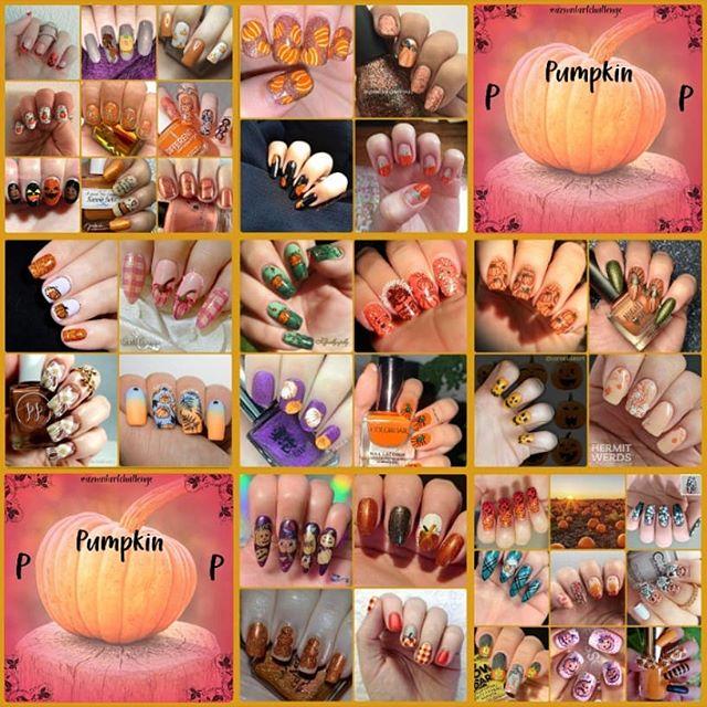 #AZNailArtChallenge - 'P' is for Pumpkin collage