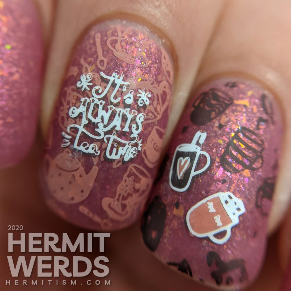 A champagne to rose to purple thermal polish combined with stamping decals of mugs, tea pots, and Alice falling endlessly.
