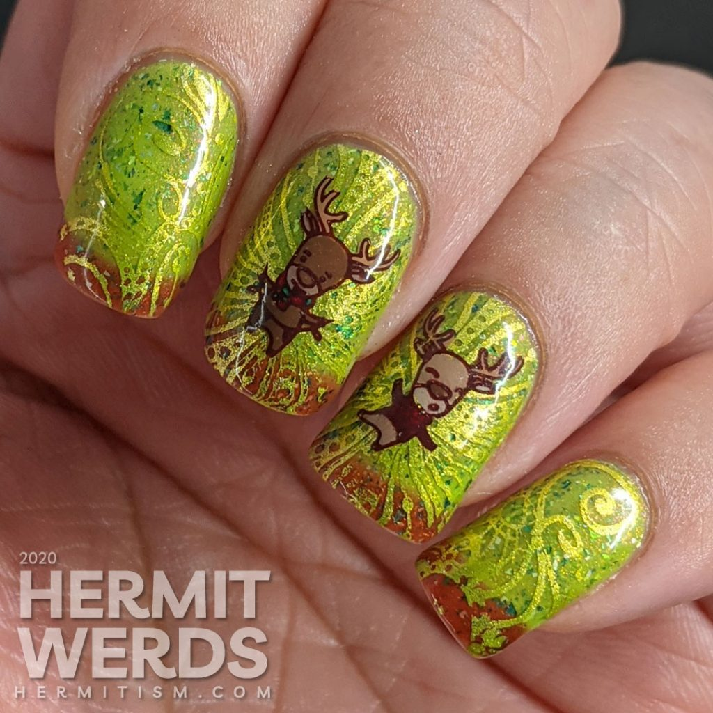 A super bling Christmas mani starting with a red/green thermal polish, bright green swirls, and dancing reindeer stamping decals.