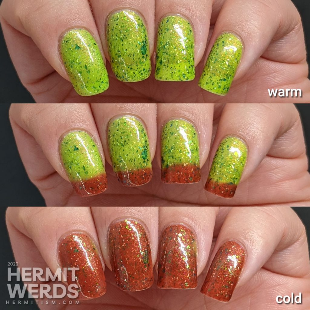 An indie thermal polish that transitions from red (cool) to green (hot) by Night Owl Lacquer.