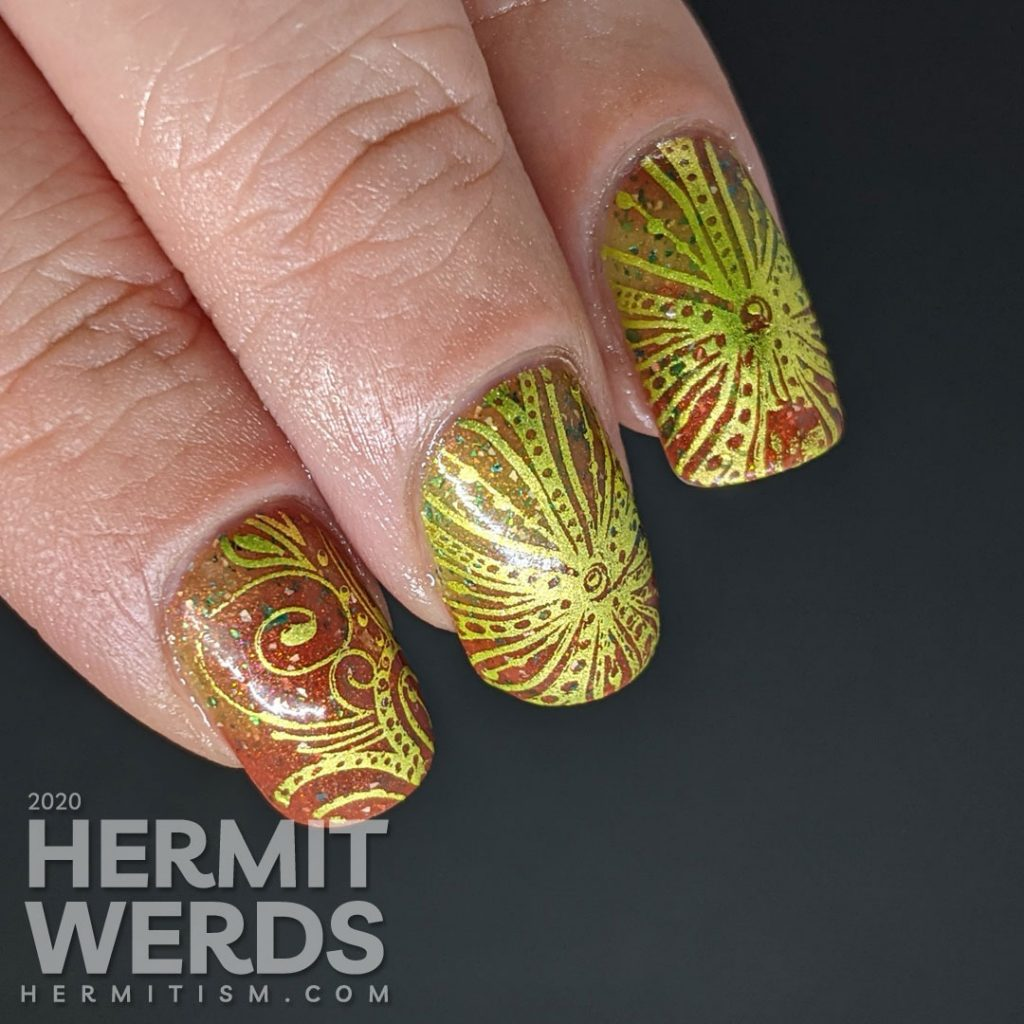 A super bling Christmas mani starting with a red/green thermal polish and bright green swirls.