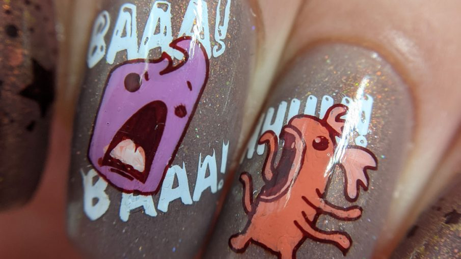 "A muted red nail art with a science fiction theme. Cute aliens stamping decals scream at each other while an astronaut says ""hi""."