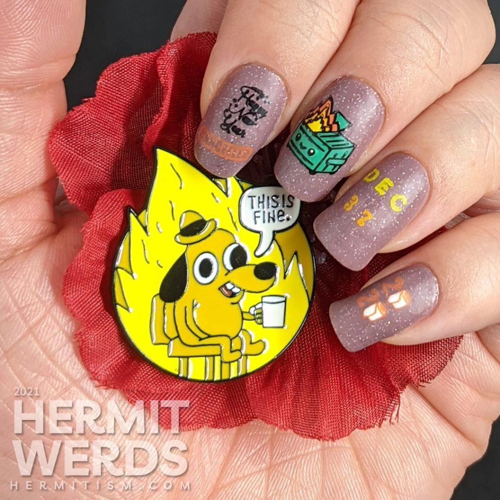 A cheeky nail art featuring the kawaii dumpster fire and referring to January 6, 2021 as December 37, 2020.