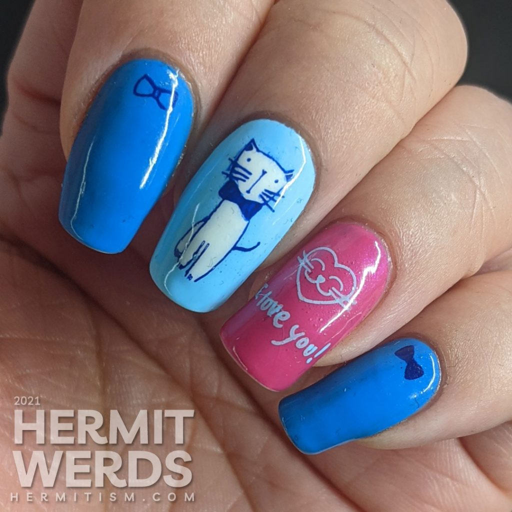 Blue and pink nail art of a gentleman cat dressing up in a bow tie to woo his lady in the city using stamping decals.