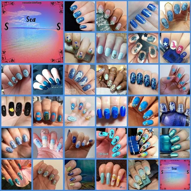 #AZNailArtChallenge - 'S' is for Sea collage