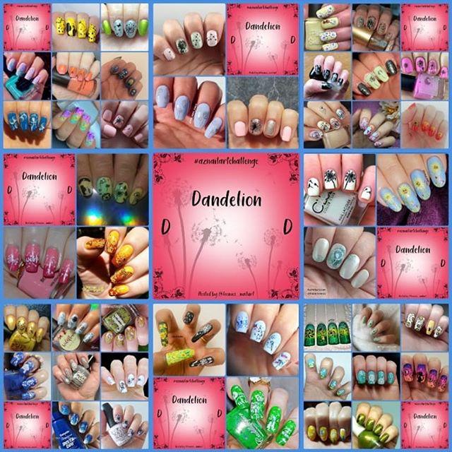 #AZNailArtChallenge - 'D' is for Dandelion collage