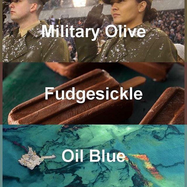 #pantone2020winterchallenge - Military Olive, Fudgesickle, Oil Blue