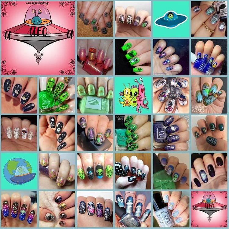 #AZNailArtChallenge - 'U' is for UFO collage
