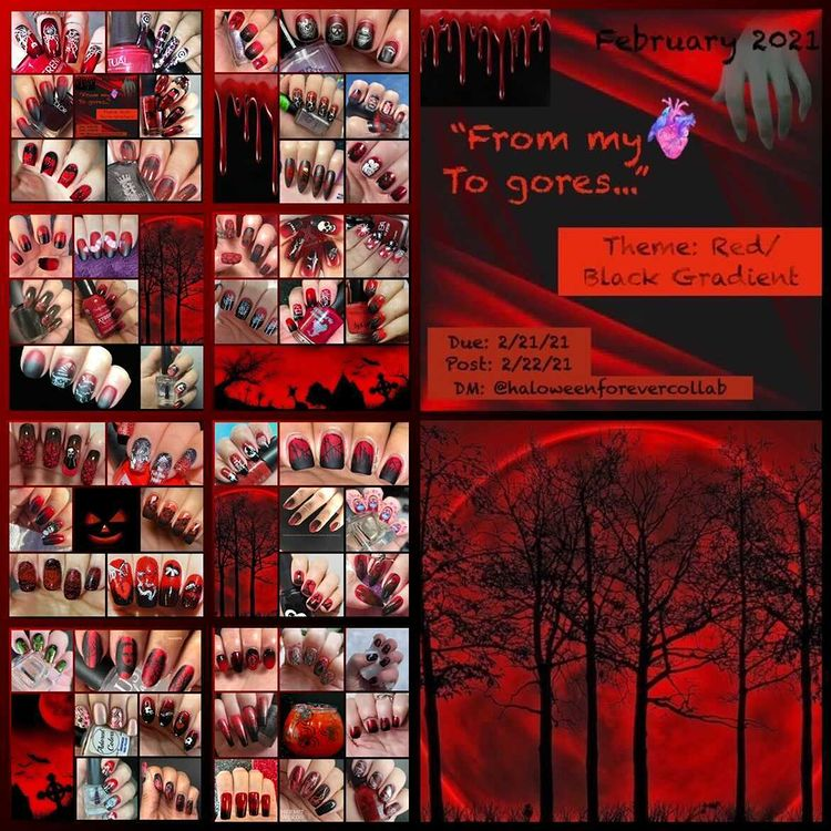 #HalloweenForeverCollab - Red/Black Gradient collage