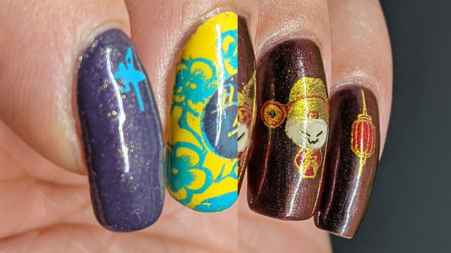 Two Year of the Ox nail art designs: one in classical red and gold (and black) and the other in the year's lucky colors: yellow, blue, and purple.