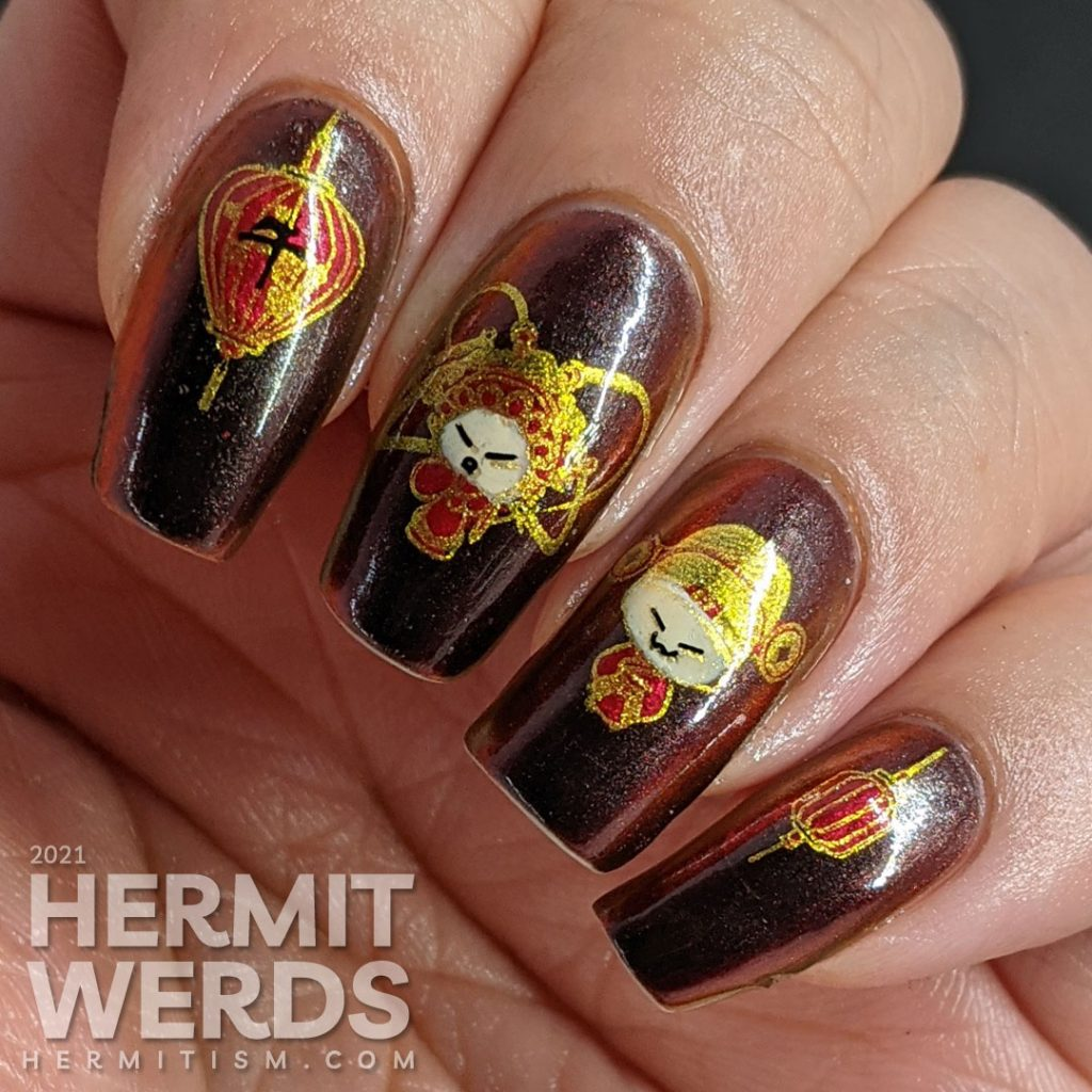 Year of the Ox nail art on a black/red/gold multichrome base with chibi Chinese opera performers, lanterns, and ox symbols.