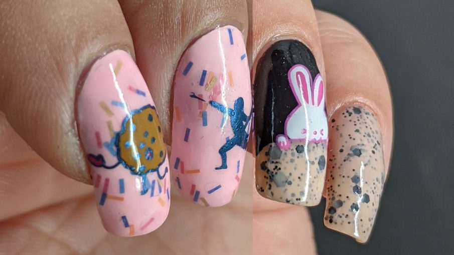 """Two baked goods manis: one pink with sprinkles donut mani of people """"hunting"""" a donut and the other a yummy chocolate chip cookie nail art with a hungry bunny."""