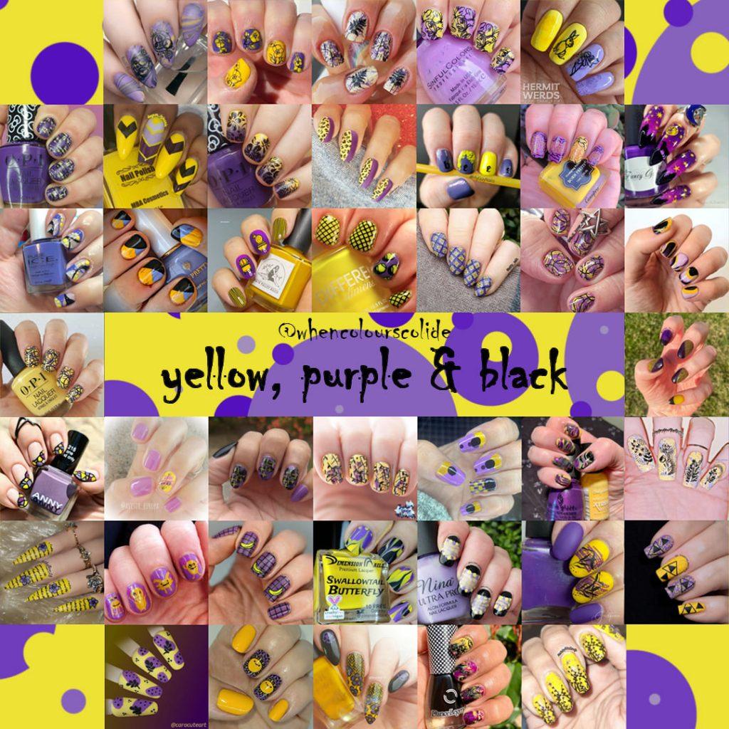 #WhenColoursCollide - yellow, purple, black collage