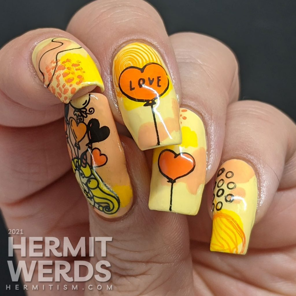 A bright yellow and orange mani with modern abstract shapes and heart balloon stamping decals. Unicorn included.