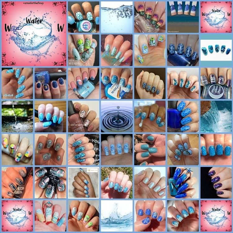 #AZNailArtChallenge - 'W' is for Water collage