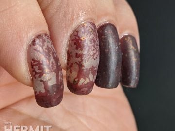A vanishing mani using a brown thermal polish. A small herd of deer stamping images slowly appear as the nail art warms up.