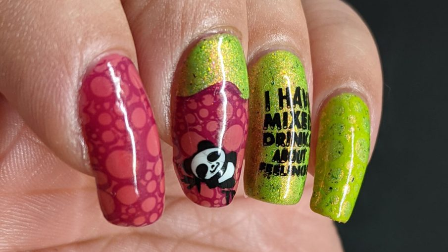 A raspberry and electric green nail art painted to represent a cocktail called Zombie Panda (by Micah Melton) with cute drink and panda stamping decals.