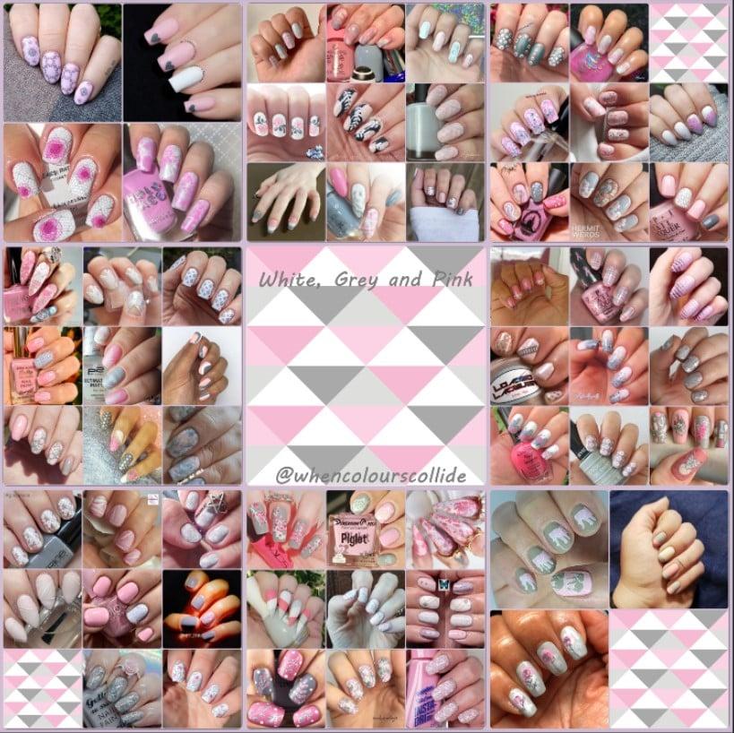 #WhenColoursCollide - White, Grey, Pink collage