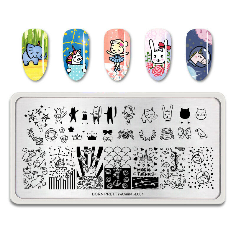 Born Pretty Animal-L001 stamping plate with lots of animals with unicorn horns, bows, and other cute images.