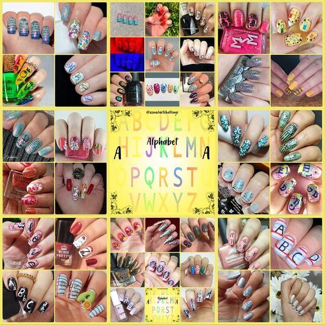 #AZNailArtChallenge - 'A' is for Alphabet collage