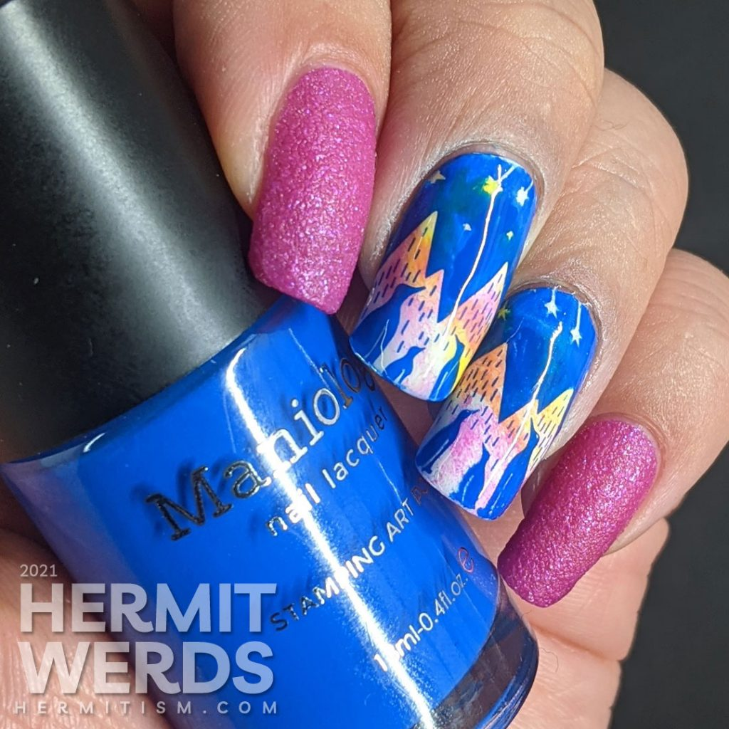 A neon cool nail art of penguins gazing up at a sky of shooting stars against an icey mountain background.
