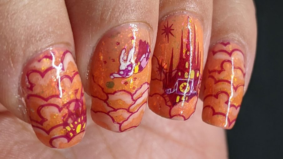 An orange, flakie-filled nail art of a cloud city of superhero castles + flying superhero bunny and a skyscraper city of villains beneath.
