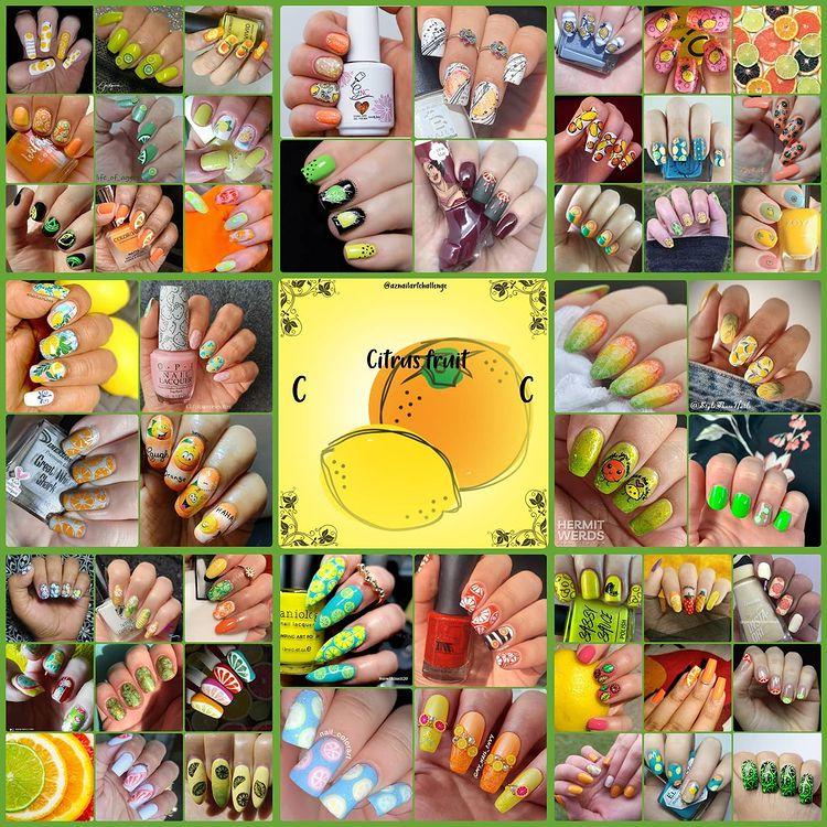 #AZNailArtChallenge - 'C' is for Citrus collage