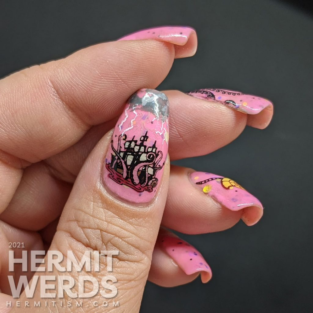 A pink glow in the dark crelly with Disney villain Ursula nail art complete with tentacles, shell necklace, and her attack on Eric's ship.