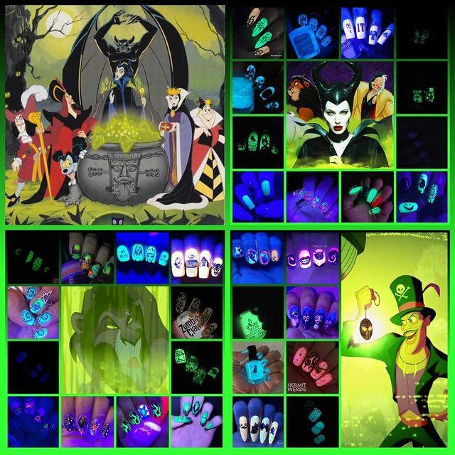 #HalloweenForeverCollab - Disney Villain collage - glow in the dark