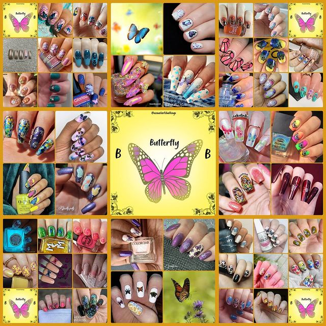 #AZNailArtChallenge - 'B' is for Butterfly collage