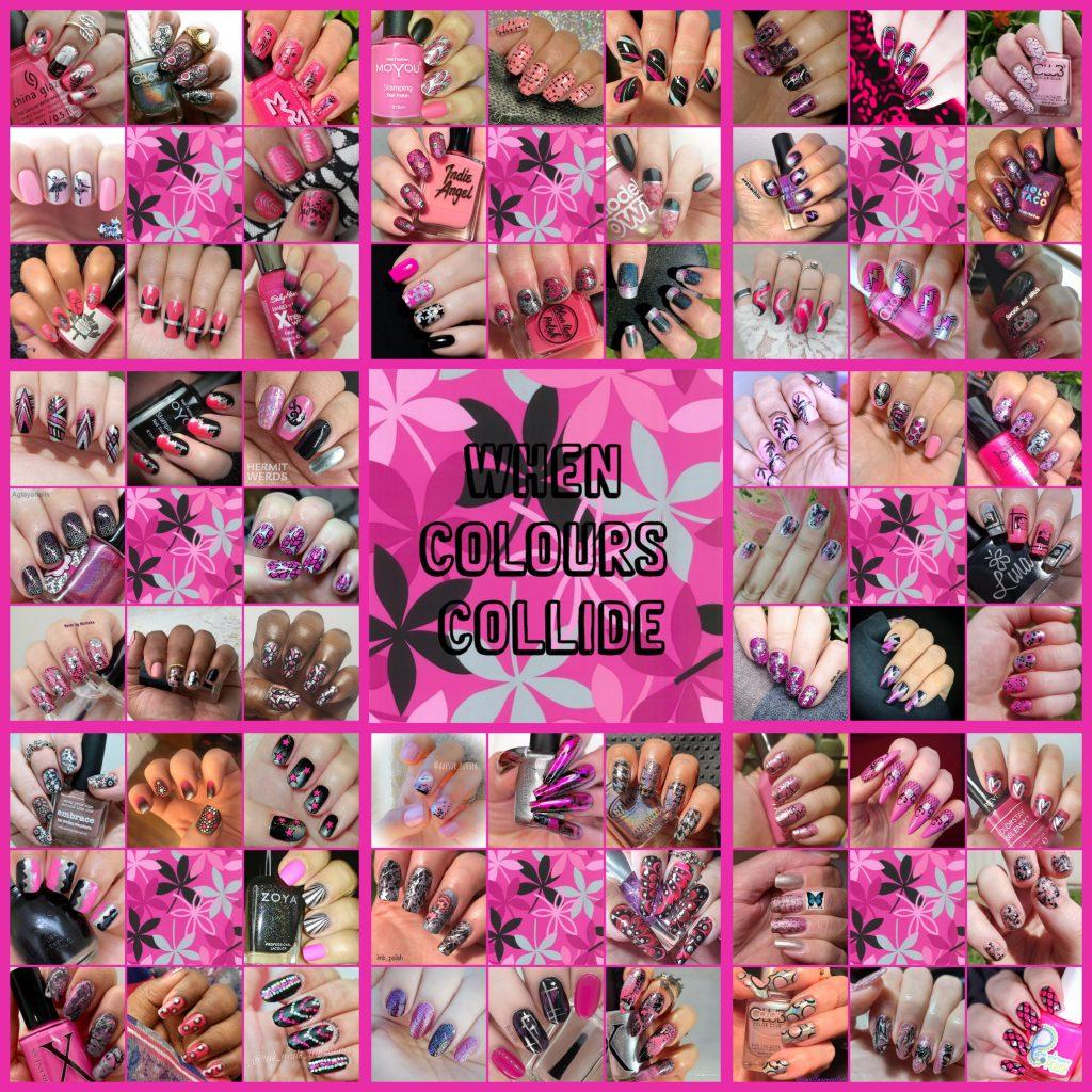 #WhenColoursCollide - Pink, Black, Silver collage
