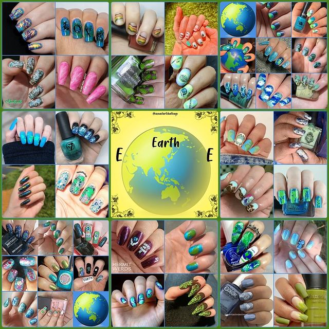 #AZNailArtChallenge - 'E' is for Earth collage