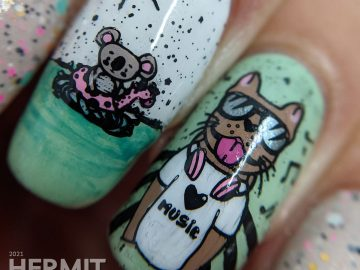 Pool party nail art using mint polish and a soft beige glitter crelly with stamping decals of anthropomorphic animals swimming and dj-ing.