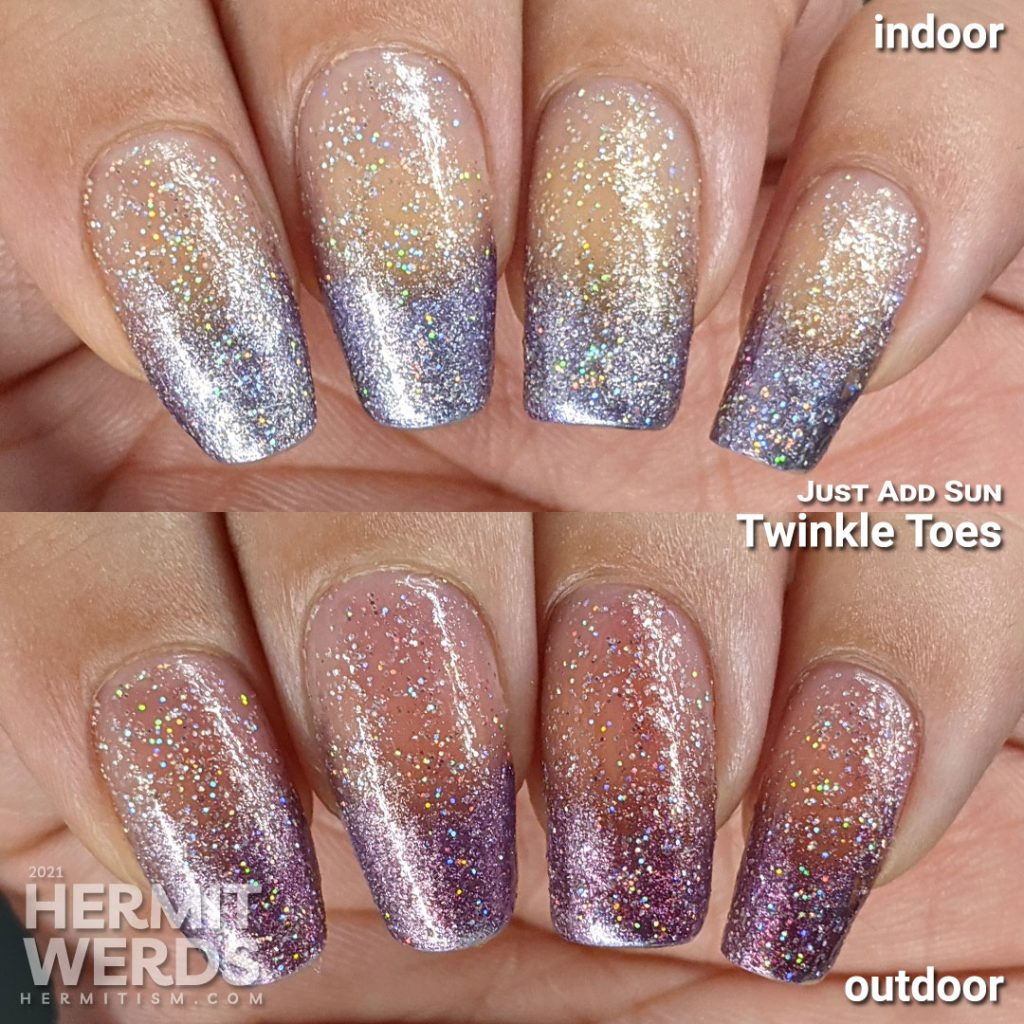 """Just Add Sun """"Twinkle Toes"""" in indoor and outdoor lighting over a purple baby boomer French tip."""