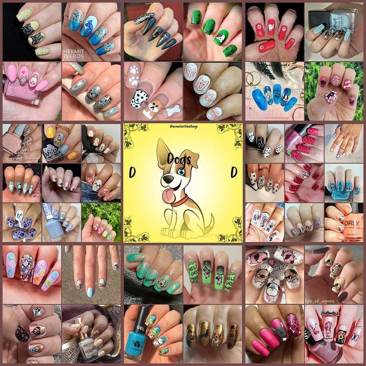 #AZNailArtChallenge - 'D' is for Dog collage