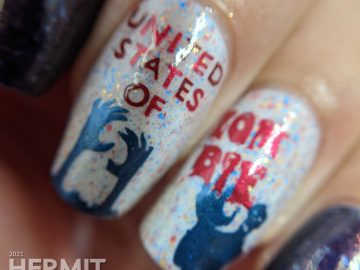 Patriotic nail art for the United States of Zombies with a red white and blue crelly and zombie stamping decals.