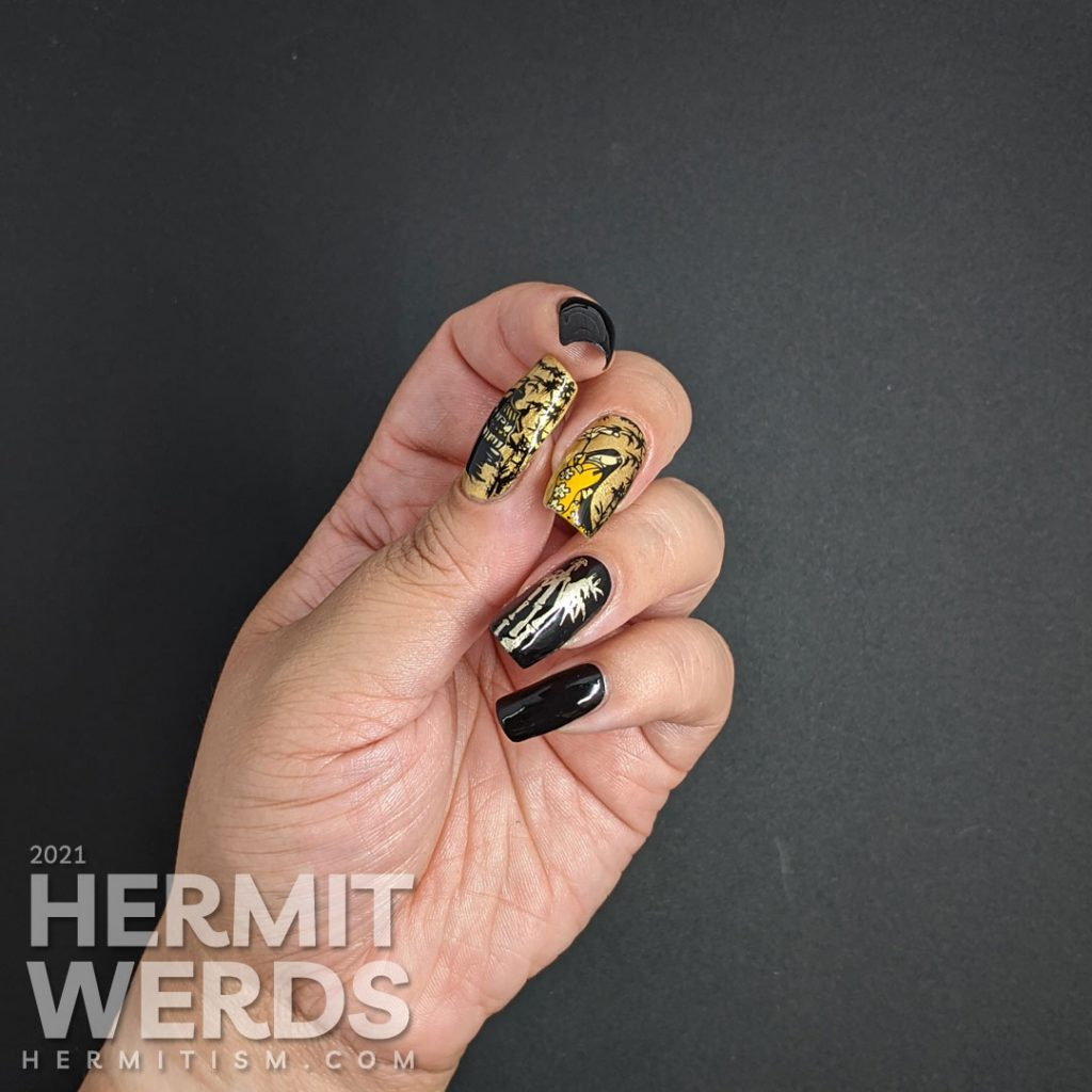 Elegant bamboo forest nail art with stamping images of a lady wearing a kimono and a house built deep in a bamboo forest.