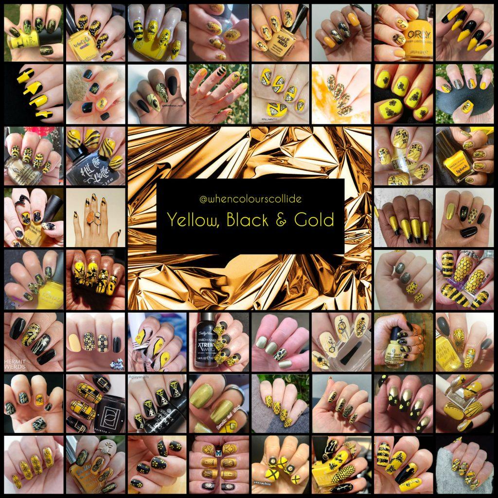 #WhenColoursCollide - Yellow, Black, Gold collage