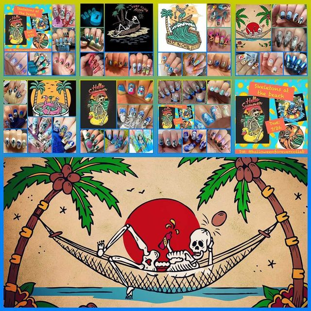 #HalloweenForeverCollab - Skeletons at the Beach collage